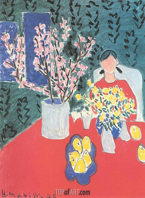 Plum Blossoms, Green Background, 1948 | Matisse | Gemälde Reproduktion