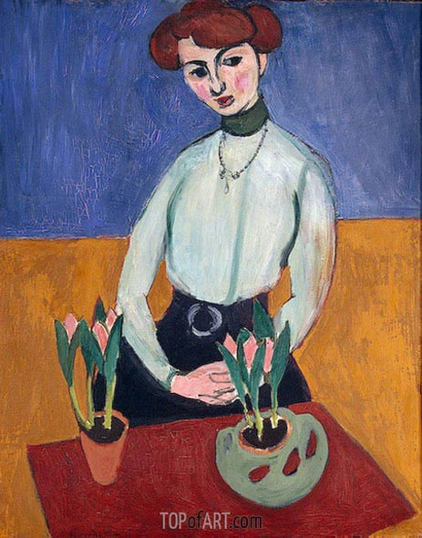 Girl with Tulips, 1910 | Matisse | Painting Reproduction