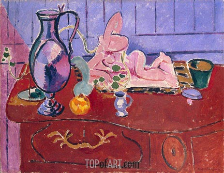 Pink Statuette and Jug on a Red Chest of Drawers, 1910 | Matisse | Painting Reproduction