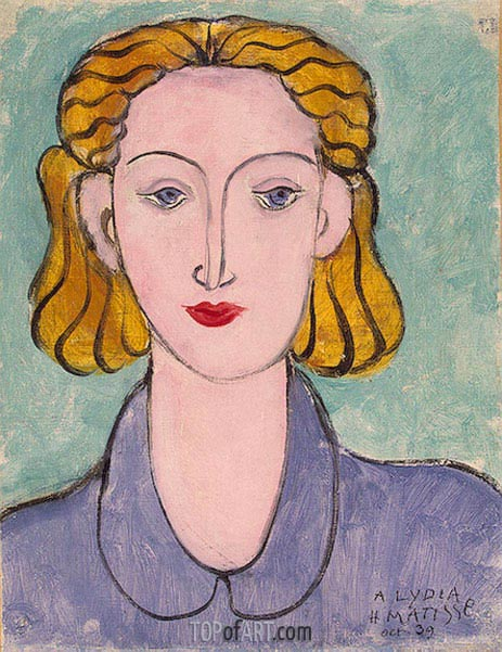 Young Woman in a Blue Blouse (Portrait of Lydia Delectorskaya), 1936 | Matisse | Painting Reproduction