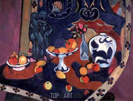 Still Life of Fruit and a Bronze Statue, 1910 | Matisse | Painting Reproduction