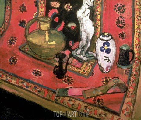 Statuette and Vases on an Oriental Carpet, 1908 | Matisse | Painting Reproduction