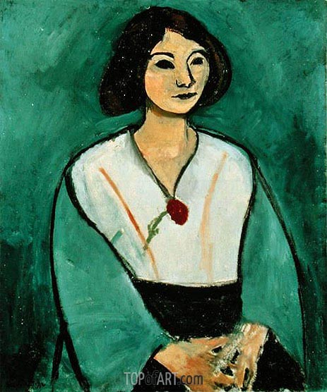 Lady in Green with a Red Carnation, 1909 | Matisse | Gemälde Reproduktion