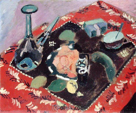 Dishes and Fruit on a Red and Black Carpet, 1906 | Matisse | Gemälde Reproduktion