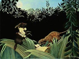 Scout Attacked by a Tiger, 1904 von Henri Rousseau | Gemälde-Reproduktion