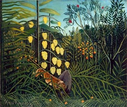 In a Tropical Forest. Struggle between Tiger and Bull, c.1908/09 von Henri Rousseau | Gemälde-Reproduktion