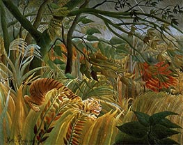 Tiger in a Tropical Storm (Surprised!), 1891 von Henri Rousseau | Gemälde-Reproduktion