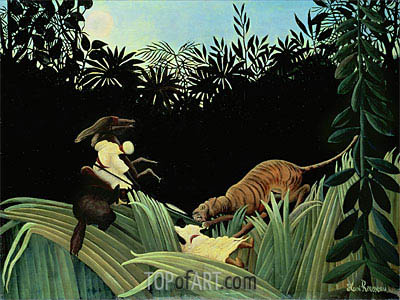 Scout Attacked by a Tiger, 1904 | Henri Rousseau | Gemälde Reproduktion