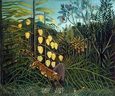 Henri Rousseau | In a Tropical Forest. Struggle between Tiger and Bull, c.1908/09