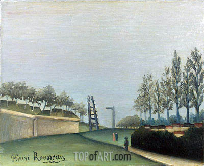 View of the Fortifications to the left of the Gate of Vanves, 1909 | Henri Rousseau | Painting Reproduction