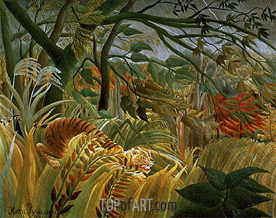 Tiger in a Tropical Storm (Surprised!), 1891 | Henri Rousseau | Painting Reproduction