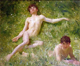 The Sunbathers, undated by Tuke | Painting Reproduction