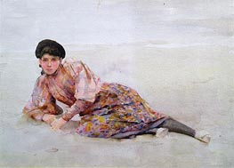 Girl on the Beach, undated von Tuke | Gemälde-Reproduktion