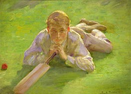 Henry Allen in Cricketing Whites, undated by Tuke | Painting Reproduction