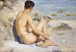 Boy on a Beach, 1912 von Tuke | Gemälde-Reproduktion