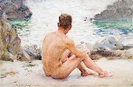 Charlie Seated on the Sand | Tuke | Painting Reproduction