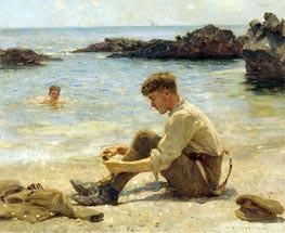 T. E. Lawrence as a cadet at Newporth Beach, near Falmouth, 1906 von Tuke | Gemälde-Reproduktion