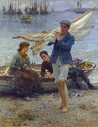 Return from Fishing, 1907 von Tuke | Gemälde-Reproduktion