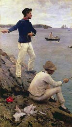 Two Falmouth Fisher Boys, 1885 by Tuke | Painting Reproduction