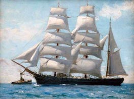 Barque in Full Sail Dropping Her Tug, 1888 by Tuke | Painting Reproduction