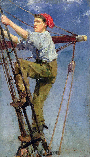 Going Aloft, c.1886 | Tuke | Painting Reproduction