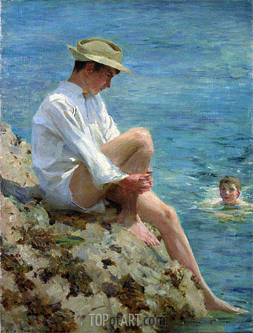 Boys Bathing, 1908 | Tuke| Painting Reproduction