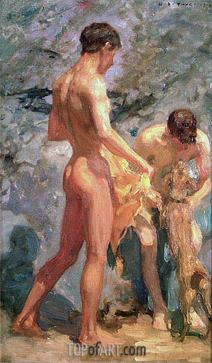 Boys Bathing - Henry Scott Tuke - Hand-Painted Art Reproduction