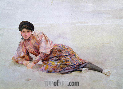 Girl on the Beach, undated | Tuke| Painting Reproduction