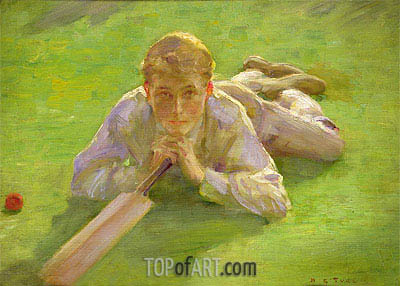 Henry Allen in Cricketing Whites, undated | Tuke| Gemälde Reproduktion