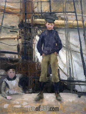 Two Children on Deck, undated | Tuke | Painting Reproduction