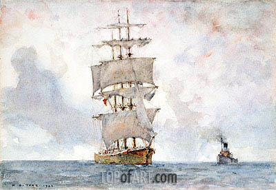 Barque and Tug, 1922 | Tuke| Painting Reproduction