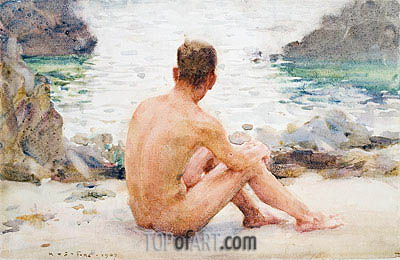 Charlie Seated on the Sand, 1907 | Tuke| Painting Reproduction