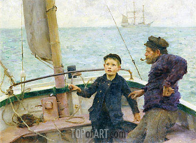 The Steering Lesson, 1892 | Tuke | Painting Reproduction
