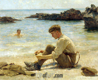 T. E. Lawrence as a cadet at Newporth Beach, near Falmouth, 1906 | Tuke| Painting Reproduction