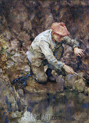 Netting Lobster, undated | Tuke | Painting Reproduction