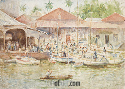 The Market, Belize, British Honduras, 1924 | Tuke | Painting Reproduction