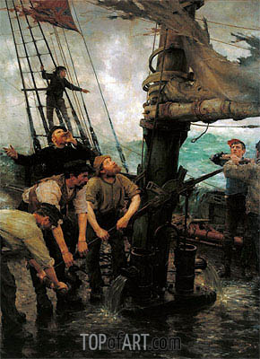 All Hands to the Pumps, c.1888 | Tuke | Gemälde Reproduktion