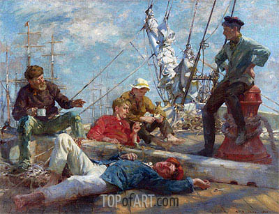 Sailor's Yarning, Midday Rest, 1906 | Tuke | Painting Reproduction