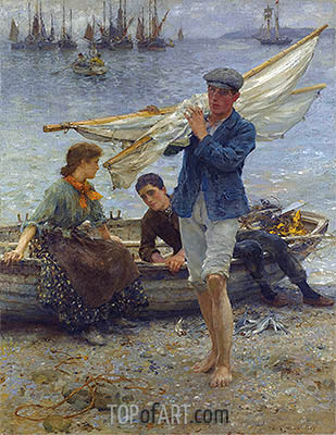Return from Fishing, 1907 | Tuke | Painting Reproduction