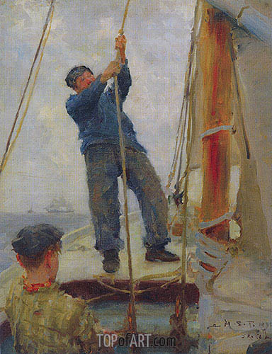 Hoisting the Mainsail, 1890 | Tuke| Painting Reproduction