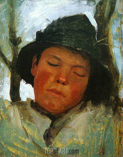 Boy in a Sou'wester, c.1882 | Tuke | Painting Reproduction