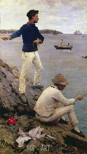 Two Falmouth Fisher Boys, 1885 | Tuke| Painting Reproduction