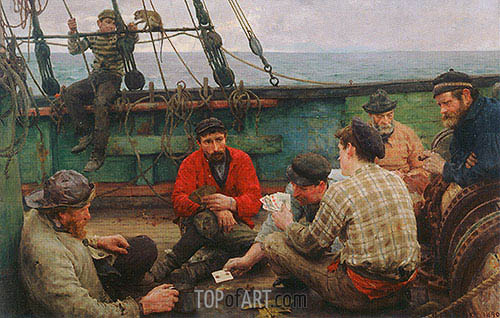 Euchre (The Dog Watch and Sailors Playing Cards), c.1889/90 | Tuke | Painting Reproduction