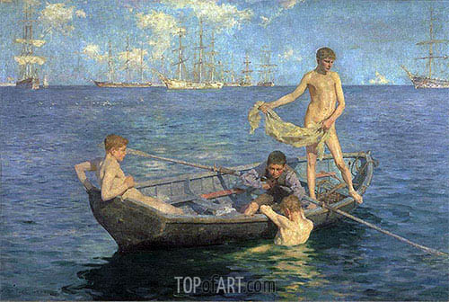 August Blue, c.1893/94 | Tuke| Gemälde Reproduktion