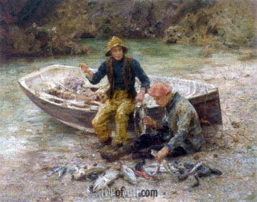 The Good Catch, 1913 | Tuke | Painting Reproduction