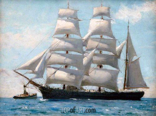Barque in Full Sail Dropping Her Tug, 1888 | Tuke| Gemälde Reproduktion