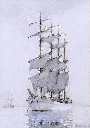 Four-Masted Barque, 1914 | Tuke| Painting Reproduction