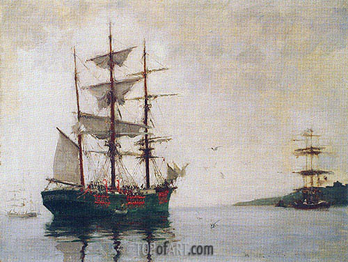 Timber Barque off Pendennis, 1897 | Tuke | Painting Reproduction