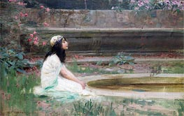 A Young Girl by a Pool, undated by Herbert James Draper | Painting Reproduction