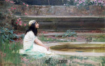 A Young Girl by a Pool, undated | Herbert James Draper | Painting Reproduction